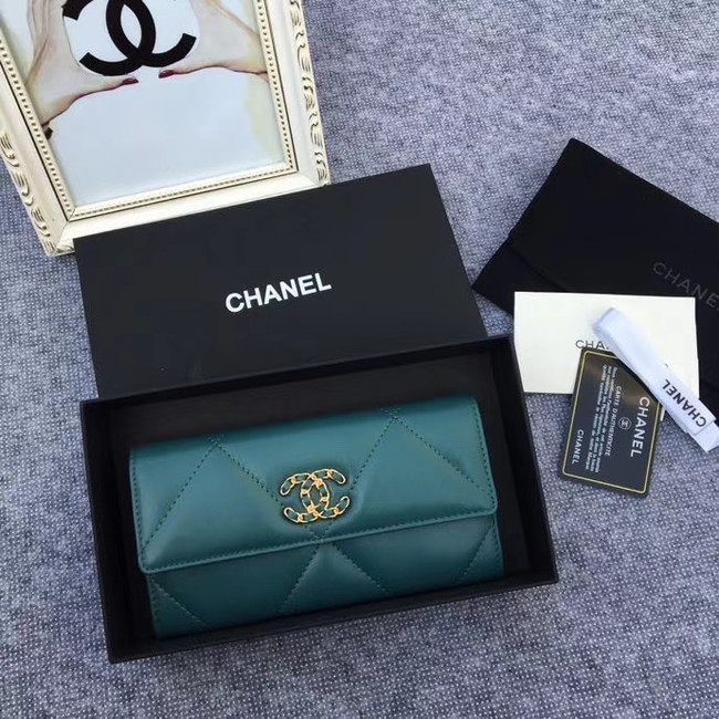 Chanel sheepskin & Gold-Tone Metal Wallet AP0955 green