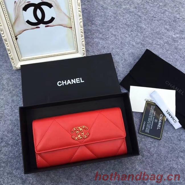 Chanel sheepskin & Gold-Tone Metal Wallet AP0955 red