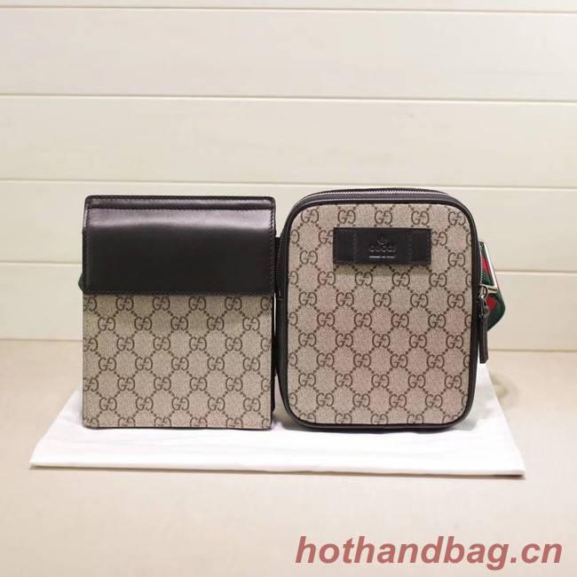 Gucci GG Supreme belt bag 450956 Beige&black