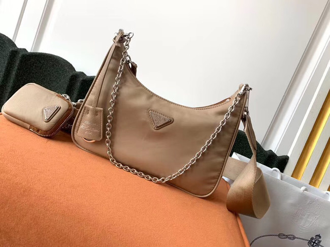 Prada Re-Edition 2005 nylon shoulder bag 1BH204 apricot