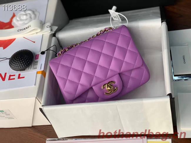 Chanel MINI Flap Bag Original Sheepskin Leather 1115 purple