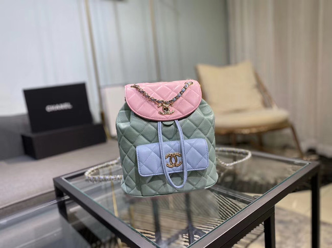 Chanel backpack Grained Calfskin & Gold-Tone Metal AS1371 blue&pink&green