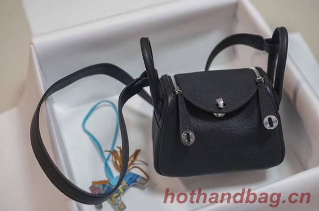 Hermes mini Lindy Togo Leather Bag LD19 black&Silver-Tone Metal