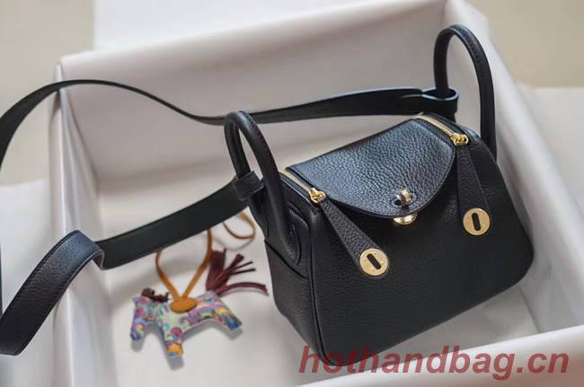 Hermes mini Lindy Togo Leather Bag LD19 black&gold-Tone Metal