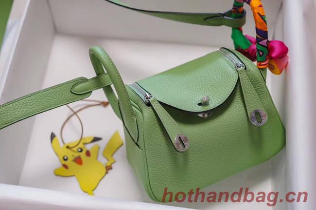 Hermes mini Lindy Togo Leather Bag LD19 green&Silver-Tone Metal