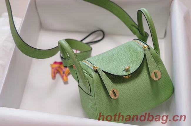 Hermes mini Lindy Togo Leather Bag LD19 green&gold-Tone Metal