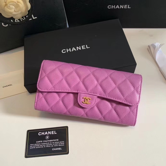 Chanel Calfskin Leather & Gold-Tone Metal Wallet A6888 Lavender