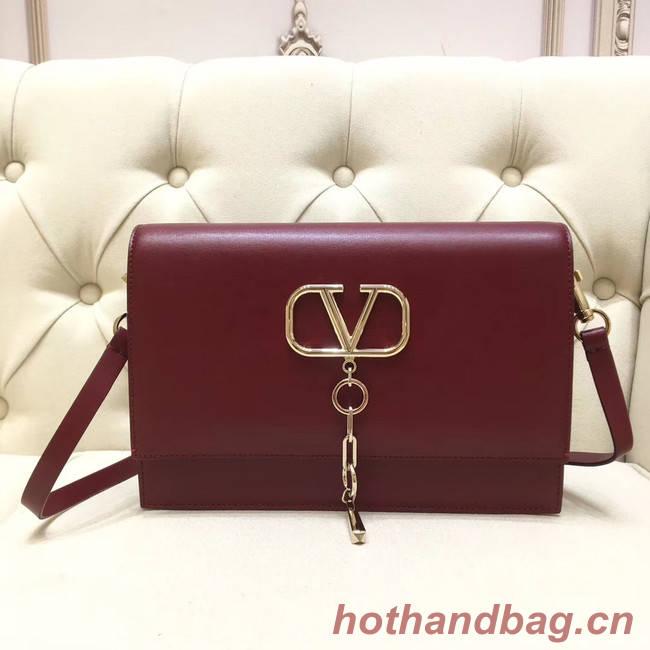 VALENTINO VLOCK Origianl leather shoulder bag 0909 Burgundy