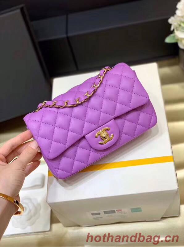 Chanel MINI Flap Bag Original Sheepskin Leather 1116 Lavender & Gold-Tone Metal