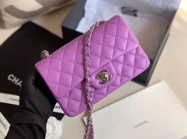 Chanel MINI Flap Bag Original Sheepskin Leather 1116 Lavender & silver-Tone Metal