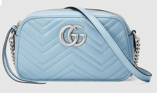 Gucci GG Marmont Matelasse Shoulder Bag 447632 Pastel blue