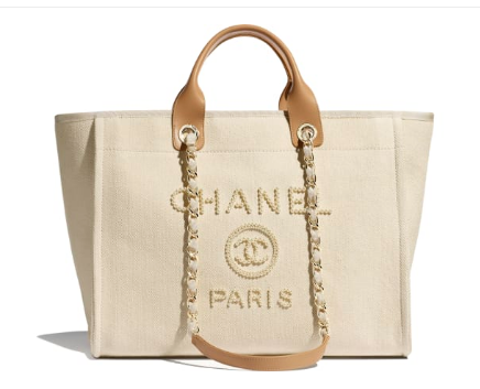 Chanel Canvas Tote Shopping Bag A66941 Cream