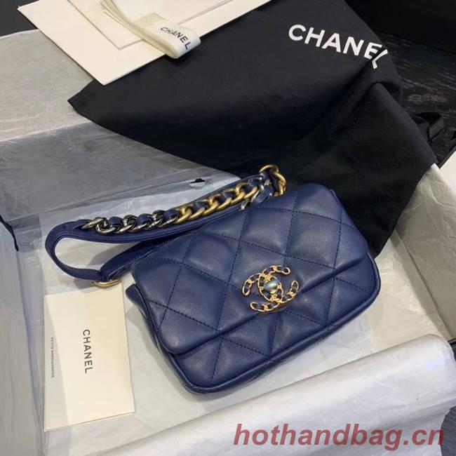 Chanel 19 Bodypack Sheepskin Leather AS1163 dark blue