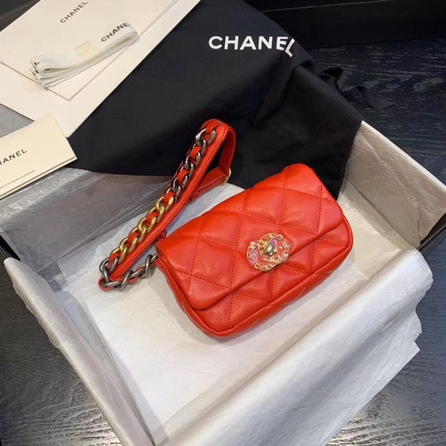 Chanel 19 Bodypack Sheepskin Leather AS1163 red