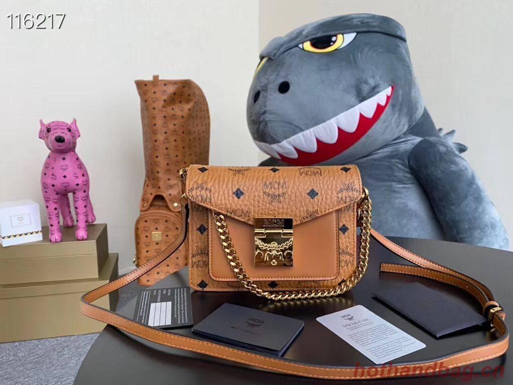 MCM Shoulder Bag Calfskin Leather 96857 Camel