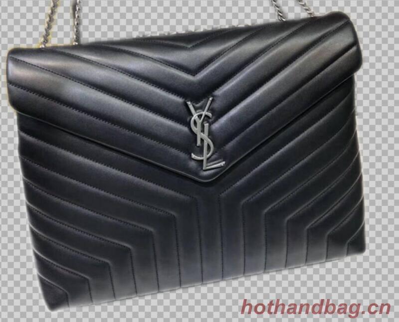 Yves Saint Laurent Calfskin Leather Jumbo Tote Bag Black 464698 Silver hardware