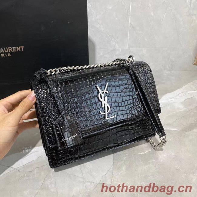 Yves Saint Laurent Calfskin Leather Shoulder Bag Y542206A Black&silver-Tone Metal