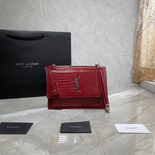 Yves Saint Laurent Calfskin Leather Shoulder Bag Y542206A red&silver-Tone Metal