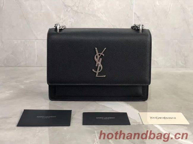 Yves Saint Laurent Calfskin Leather Shoulder Bag Y542206B black&silver-Tone Metal