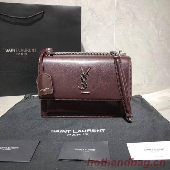 Yves Saint Laurent Calfskin Leather Shoulder Bag Y542206B Burgundy &silver-Tone Metal