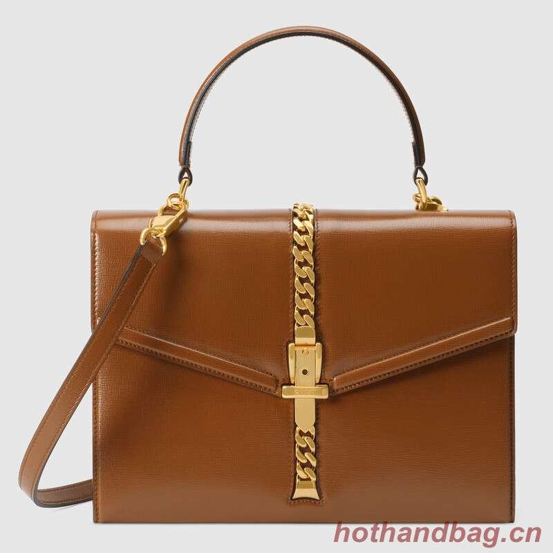 Gucci Sylvie 1969 small top handle bag 602781 brown