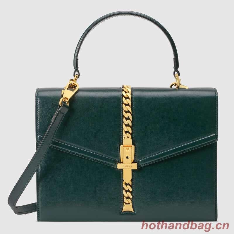 Gucci Sylvie 1969 small top handle bag 602781 green