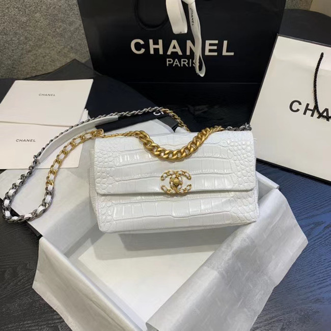 CHANEL 19 Flap Bag Crocodile Leather AS1160 white