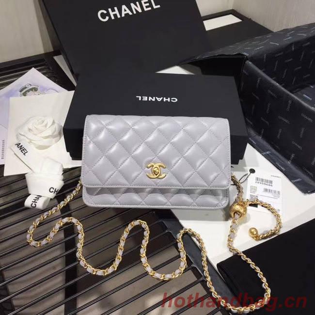 Chanel Original Small classic Sheepskin flap bag AS33814 light grey