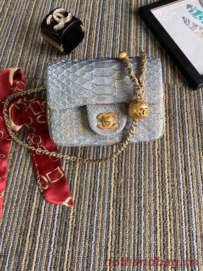 Chanel Original Small Snake skin flap bag AS1115 grey