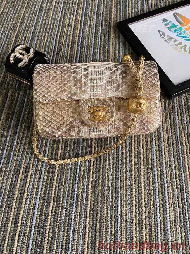 Chanel Original Small Snake skin flap bag AS1116 apricot