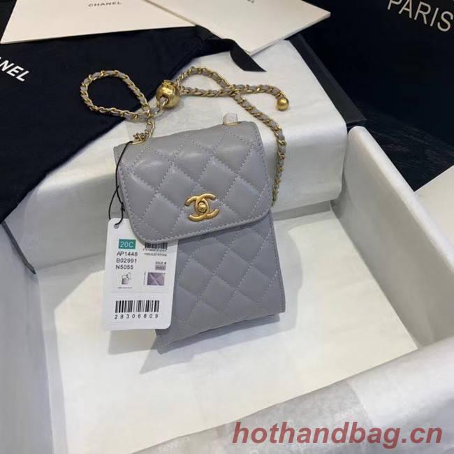 Chanel Original Small classic Sheepskin Shoulder Bag AP1448 grey