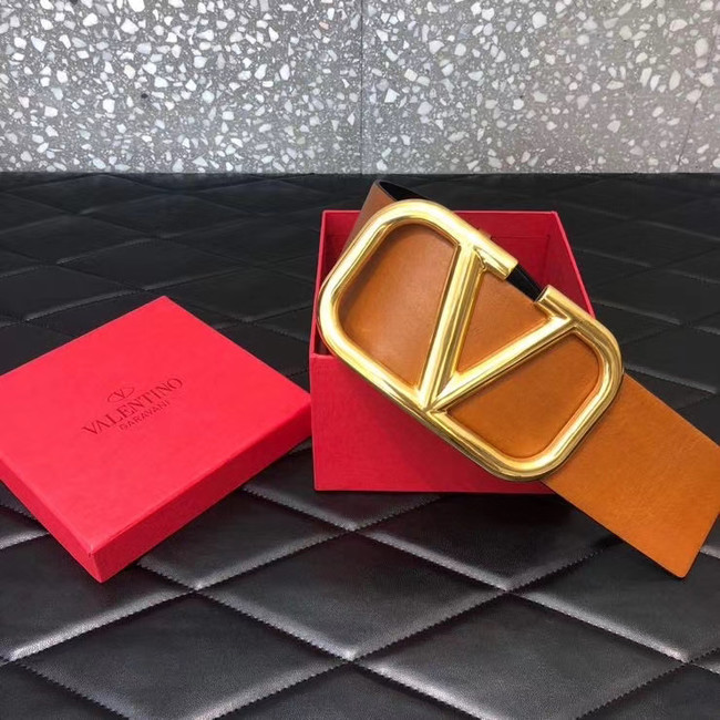 Valentino Leather Belt 3369 brown wide 7.0CM