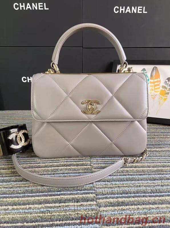 Chanel CC original lambskin top handle flap bag A92236 grey&Gold-Tone Metal