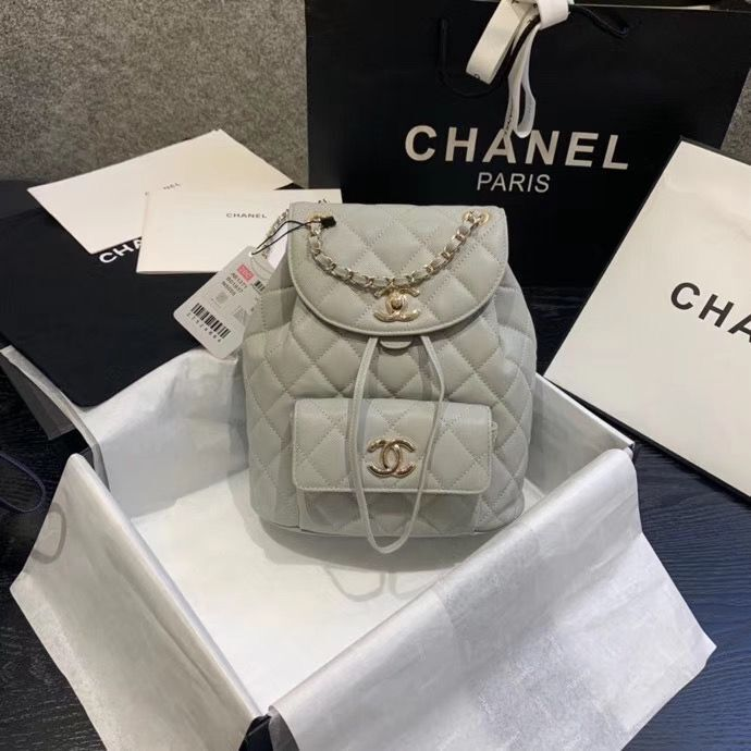 Chanel backpack Grained Calfskin & Gold-Tone Metal AS1371 Gray