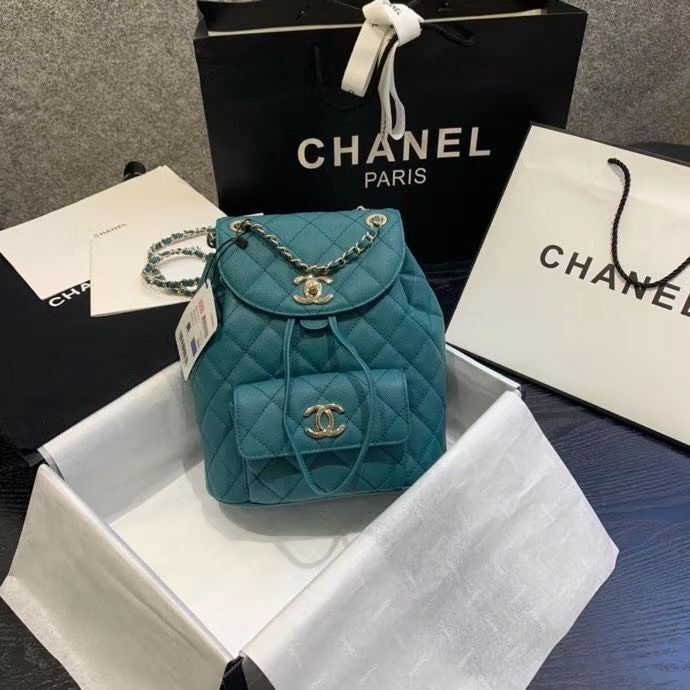 Chanel backpack Grained Calfskin & Gold-Tone Metal AS1371 Green