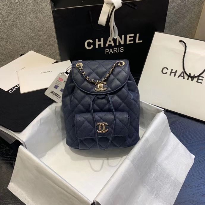 Chanel backpack Grained Calfskin & Gold-Tone Metal AS1371 Navy