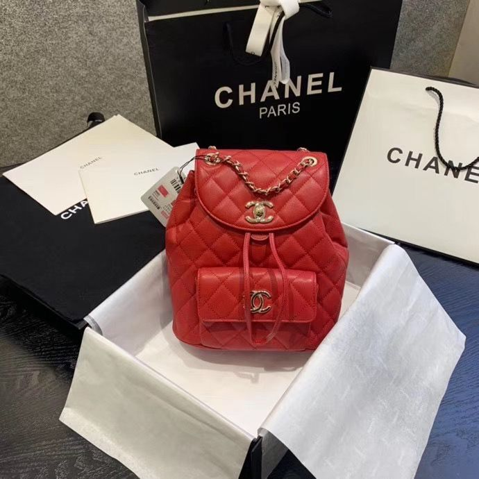 Chanel backpack Grained Calfskin & Gold-Tone Metal AS1371 Red
