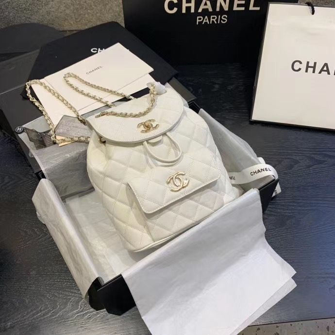 Chanel backpack Grained Calfskin & Gold-Tone Metal AS1371 White