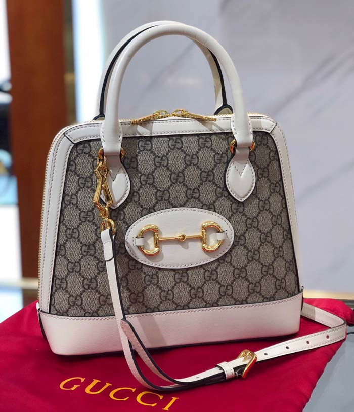 Gucci GG Supreme Canvas Top Handle Bag 621220 White