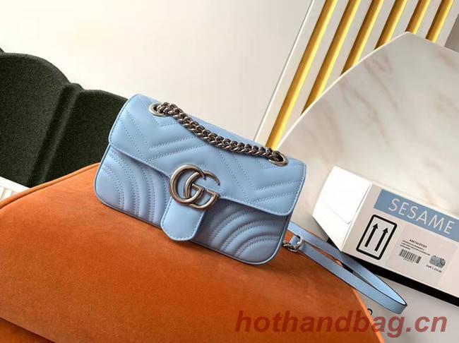 Gucci GG Marmont small shoulder bag 446744 Pastel blue