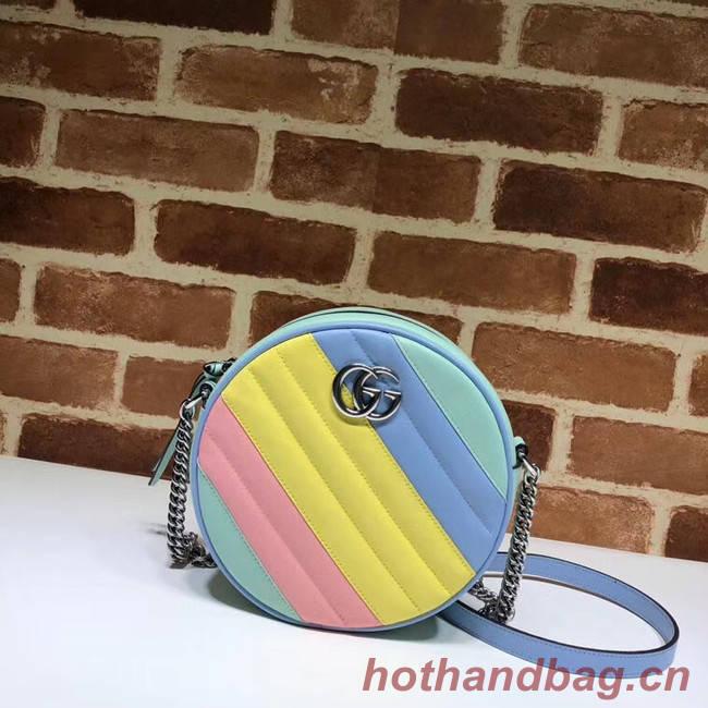 Gucci GG Marmont mini round shoulder bag 550154 Multicolored pastel