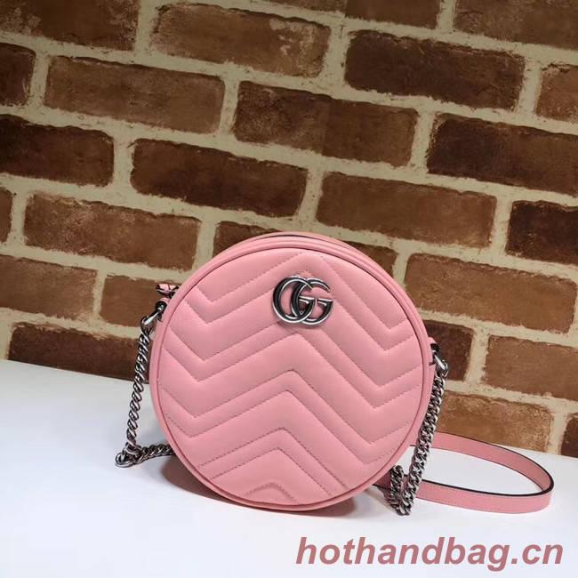 Gucci GG Marmont mini round shoulder bag 550154 Pastel pink