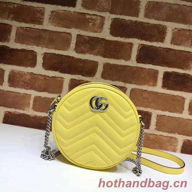 Gucci GG Marmont mini round shoulder bag 550154 Pastel yellow