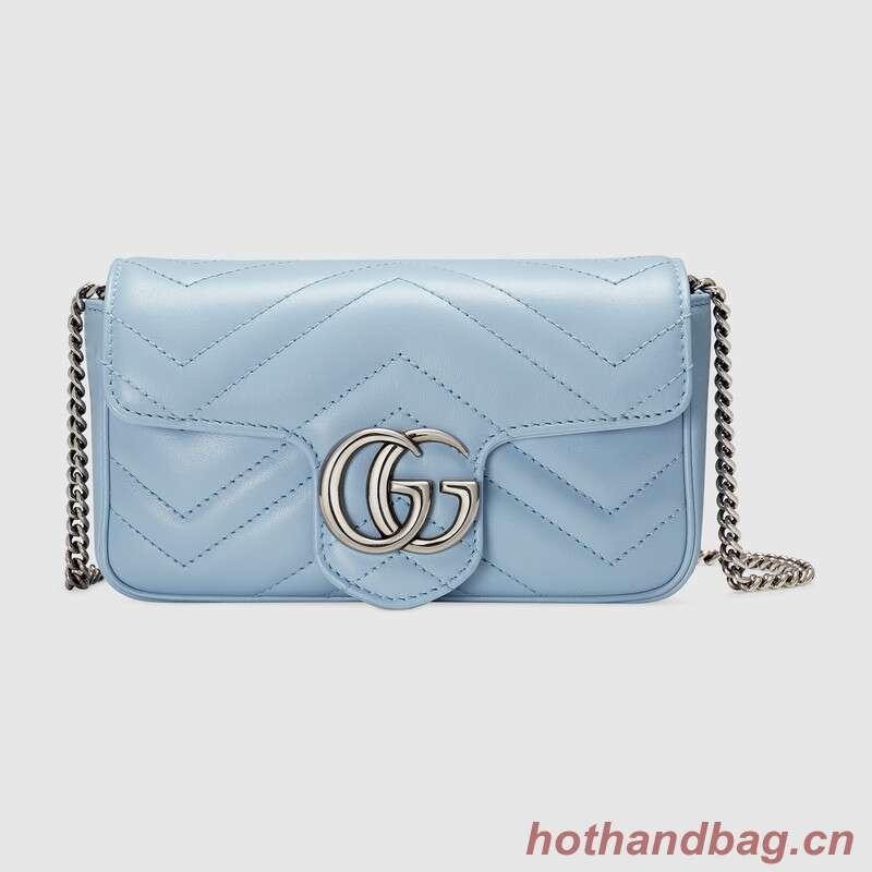 Gucci GG Marmont super mini bag 476433 Pastel blue