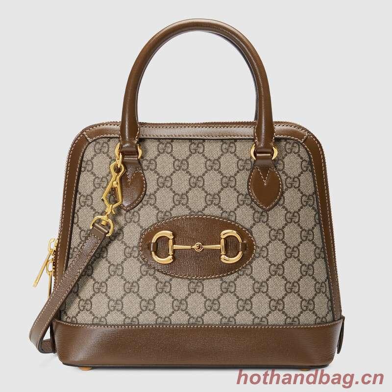 Gucci GG Supreme Canvas Top Handle Bag 621220 brown