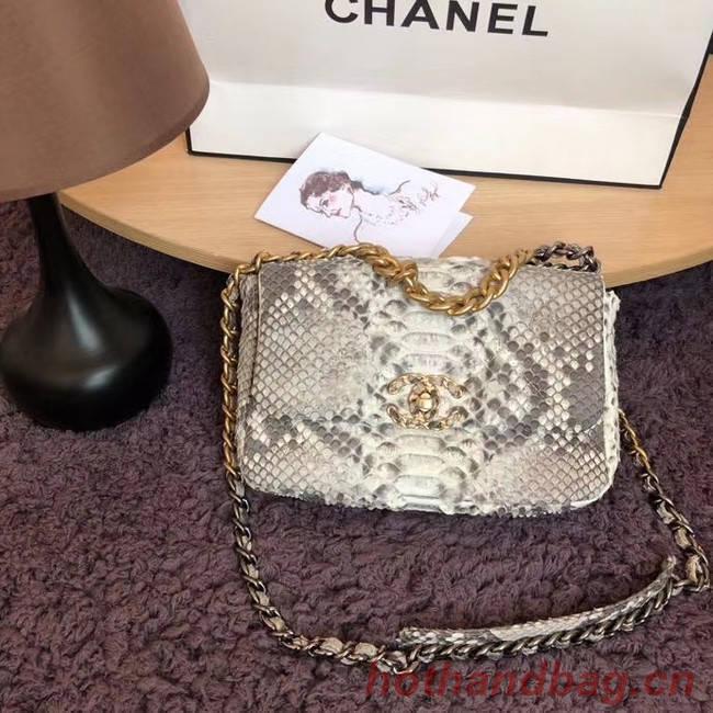 CHANEL 19 Flap Bag Original Snake skin flap bag AS1160 grey