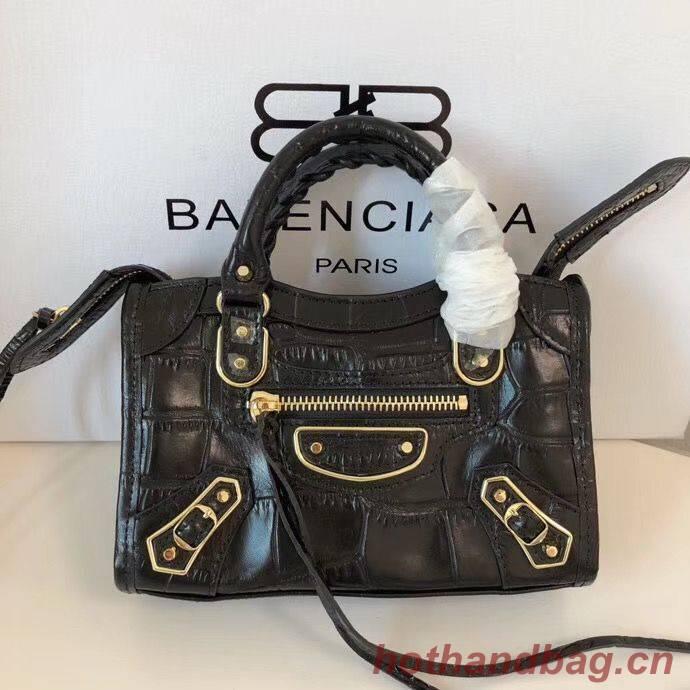 Balenciaga Mini Classic Crocodile Leather Bag B300296 Black