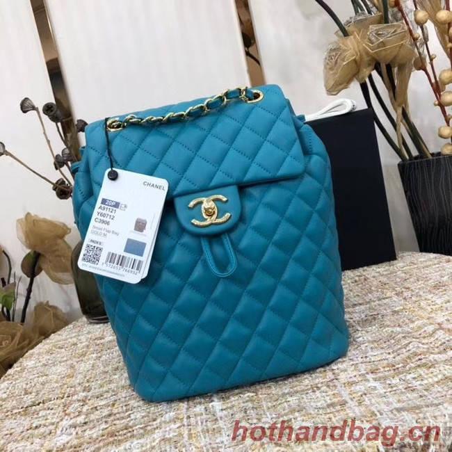 Chanel Backpack Sheepskin Original Leather 83431 sky blue