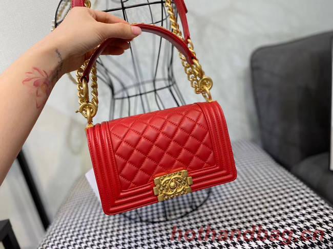 Small boy chanel handbag AS67085 red
