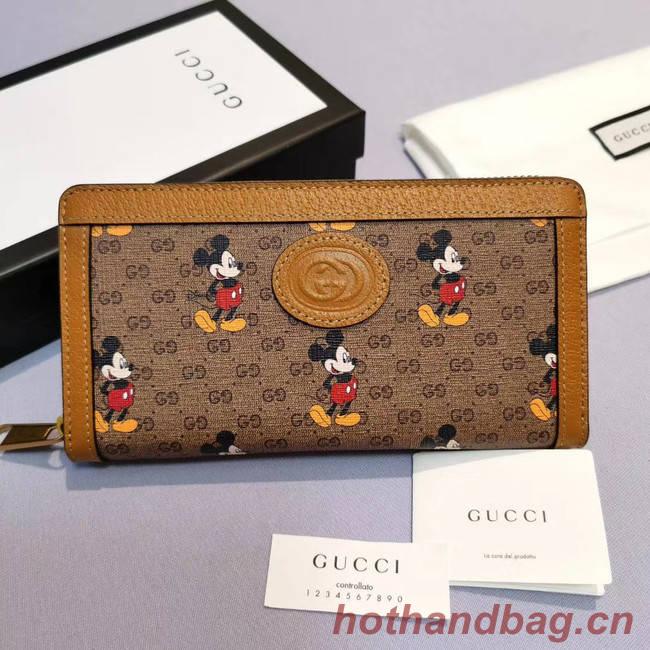 Gucci Disney x zip around wallet 602532 brown